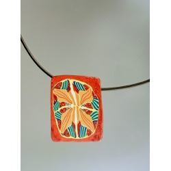 Abstract floral pendant in autumn colors