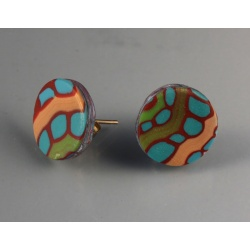 12mm Turquoise and Red Dot Post Earrings