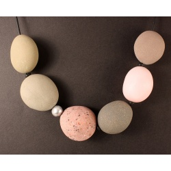 Large Polymer Pebble Necklace with Baroque Pearl