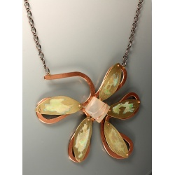 Substantial Copper and Brass Daisy Pectoral with Blue Chalcedony