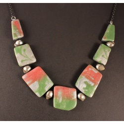 Polymer Zoisite Tiles Chain Necklace