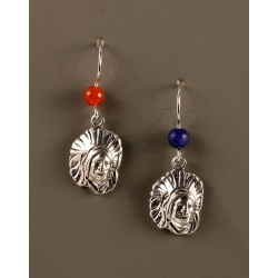 Indian Head Earrings with Lapis and Carnelian