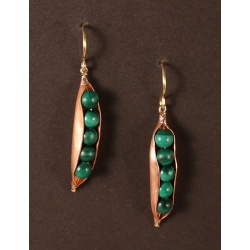 Copper Peapod Earring with 5 Malachite Peas